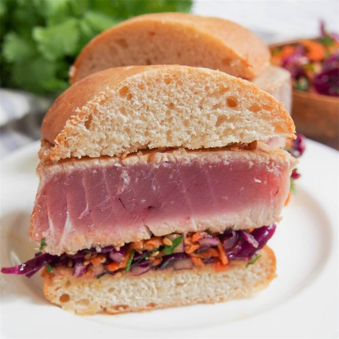 Seared tuna sandwich with Asian sesame slaw