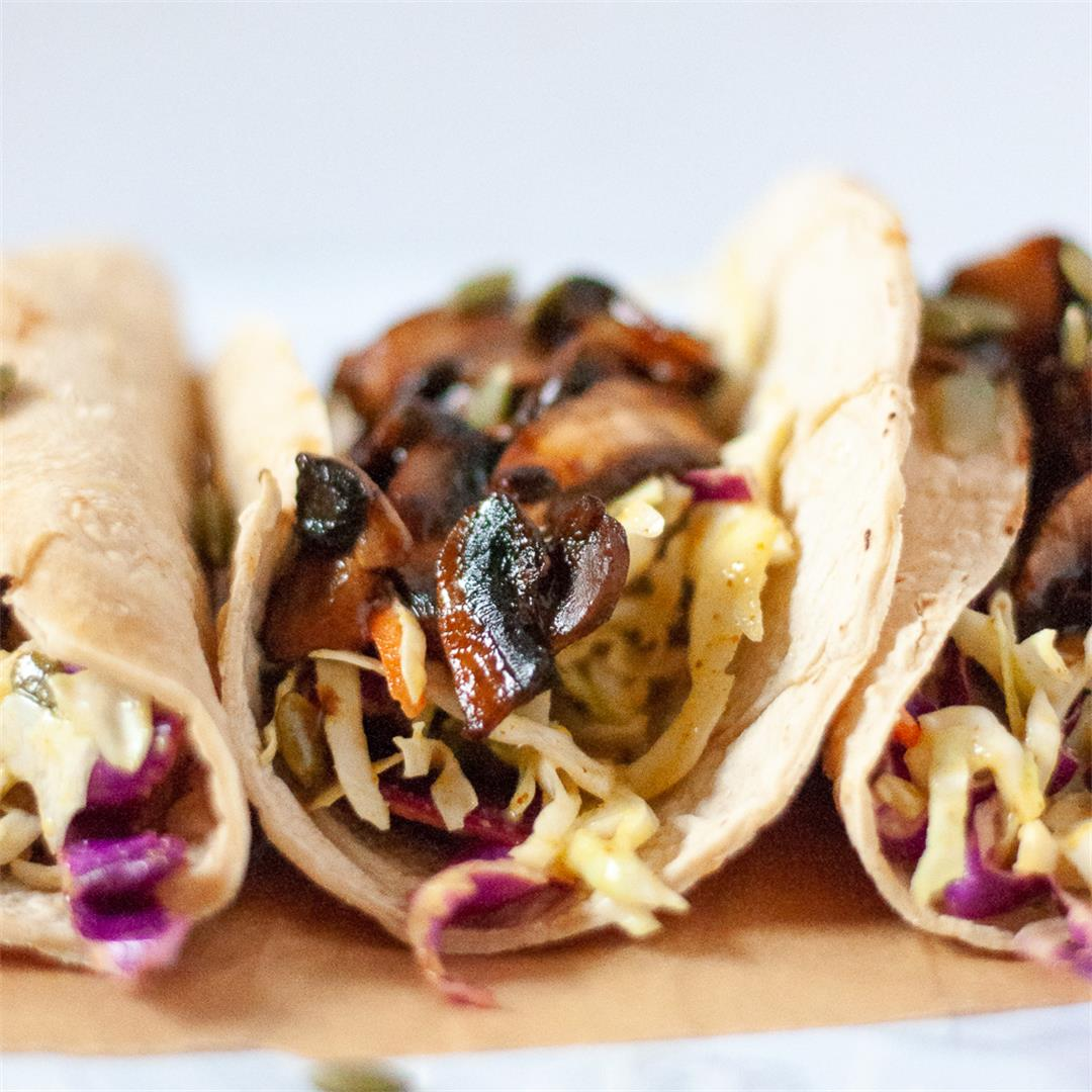 BBQ Pulled Portobello Tacos with Spicy Mustard Coleslaw
