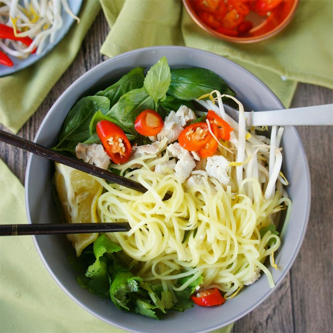 Asian Inspired Chicken Noodle Bowl, with fresh herbs!