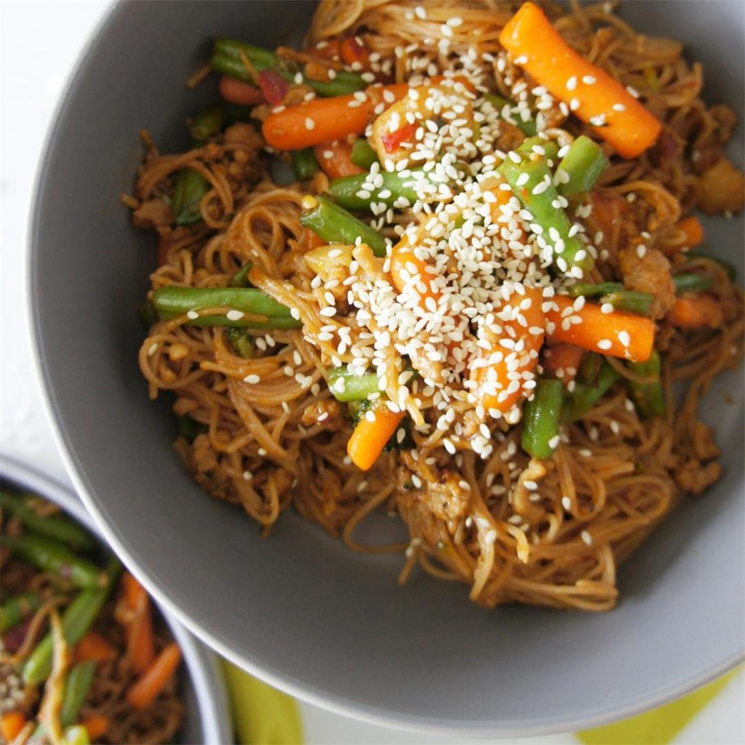 Brown Rice Noodle Stir fry with Mixed Vegetables