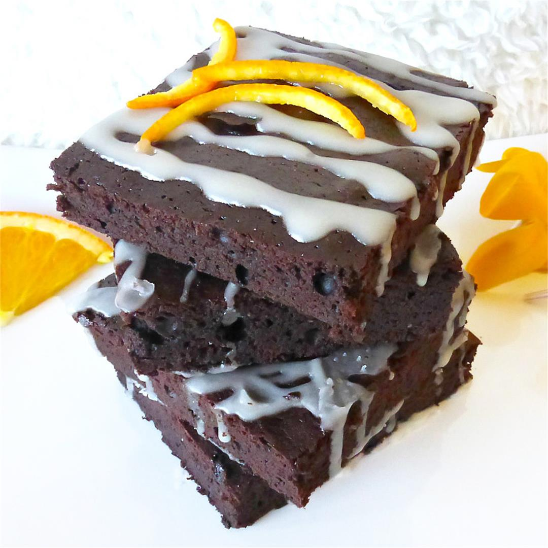 Rich Chocolate Orange Brownies with an Tangy Orange Drizzle