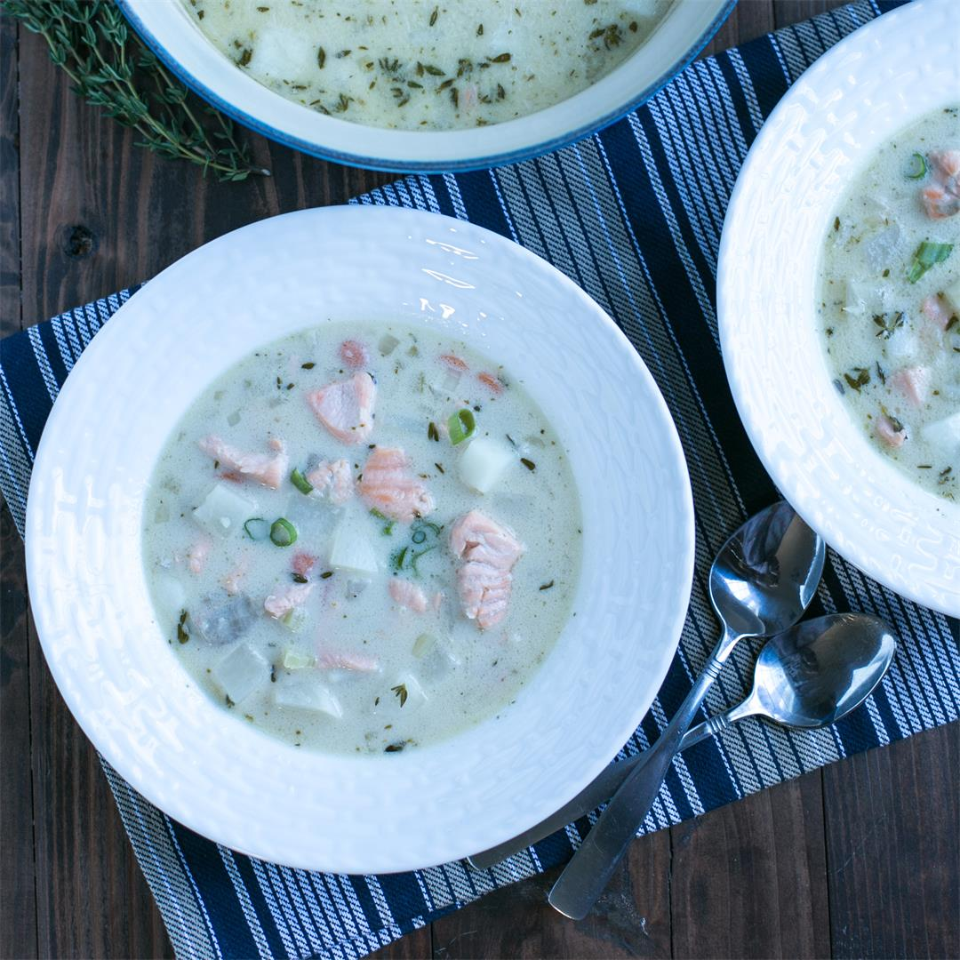 Paleo Salmon Chowder With Coconut Milk