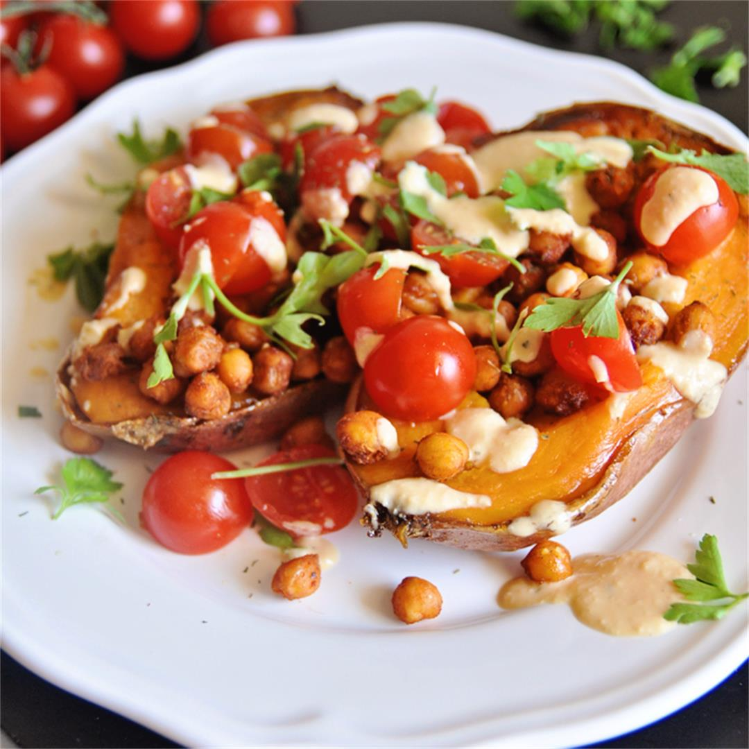 Stuffed Sweet Potatoes with Roasted Garbanzos and Garlic Sauce