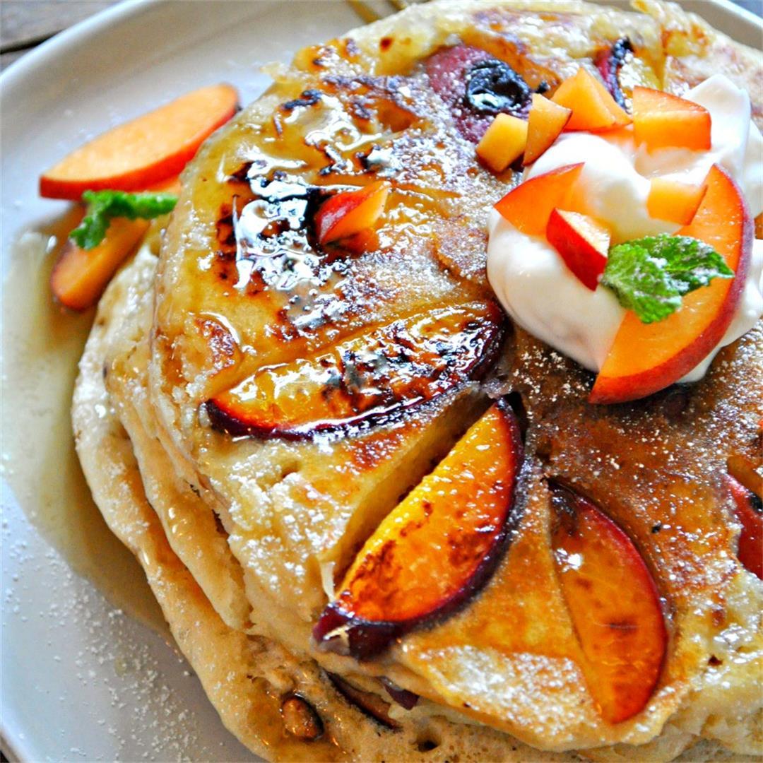 Vegan Peaches and Cream Pancakes