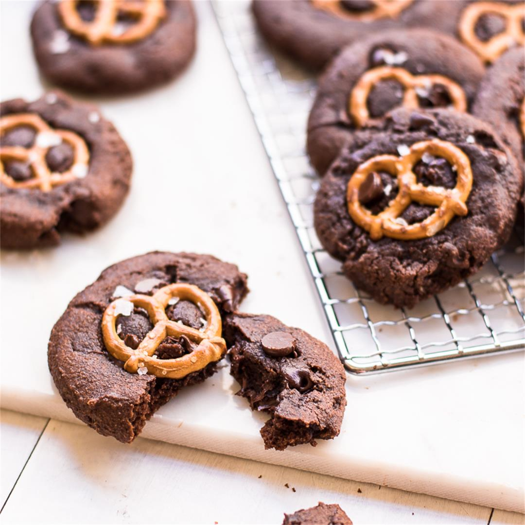 Double Chocolate Sweet and Salty Flourless Cookies