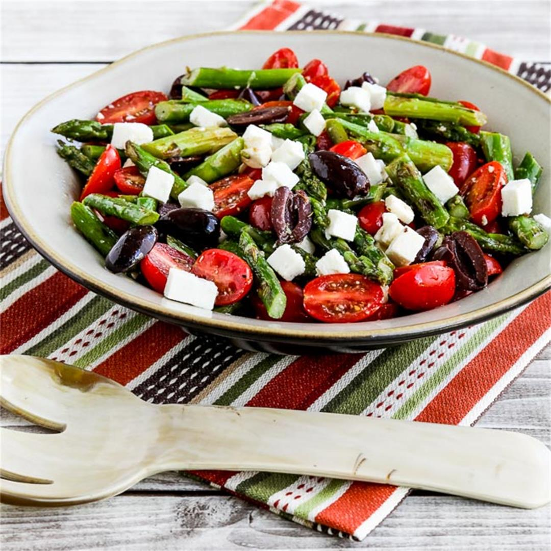 Asparagus Salad with Tomatoes, Olives, and Feta