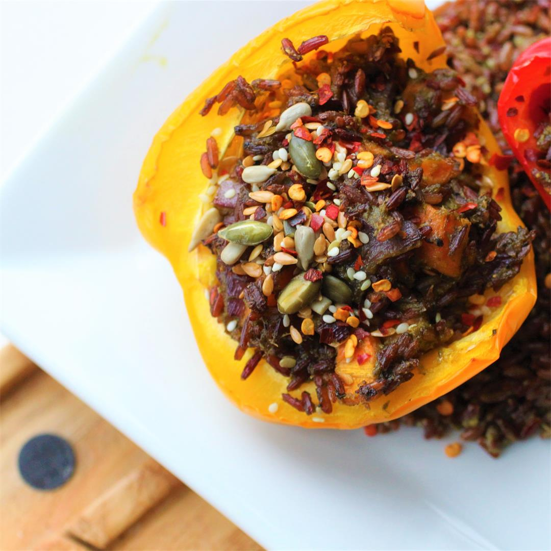 Red Rice & Pesto Stuffed Peppers