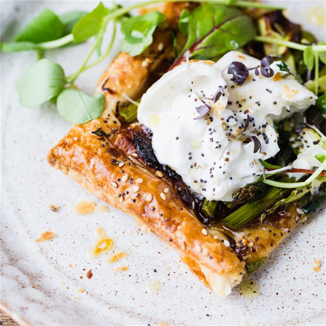 Simple Roasted Vegetable Spring Tart with Burrata