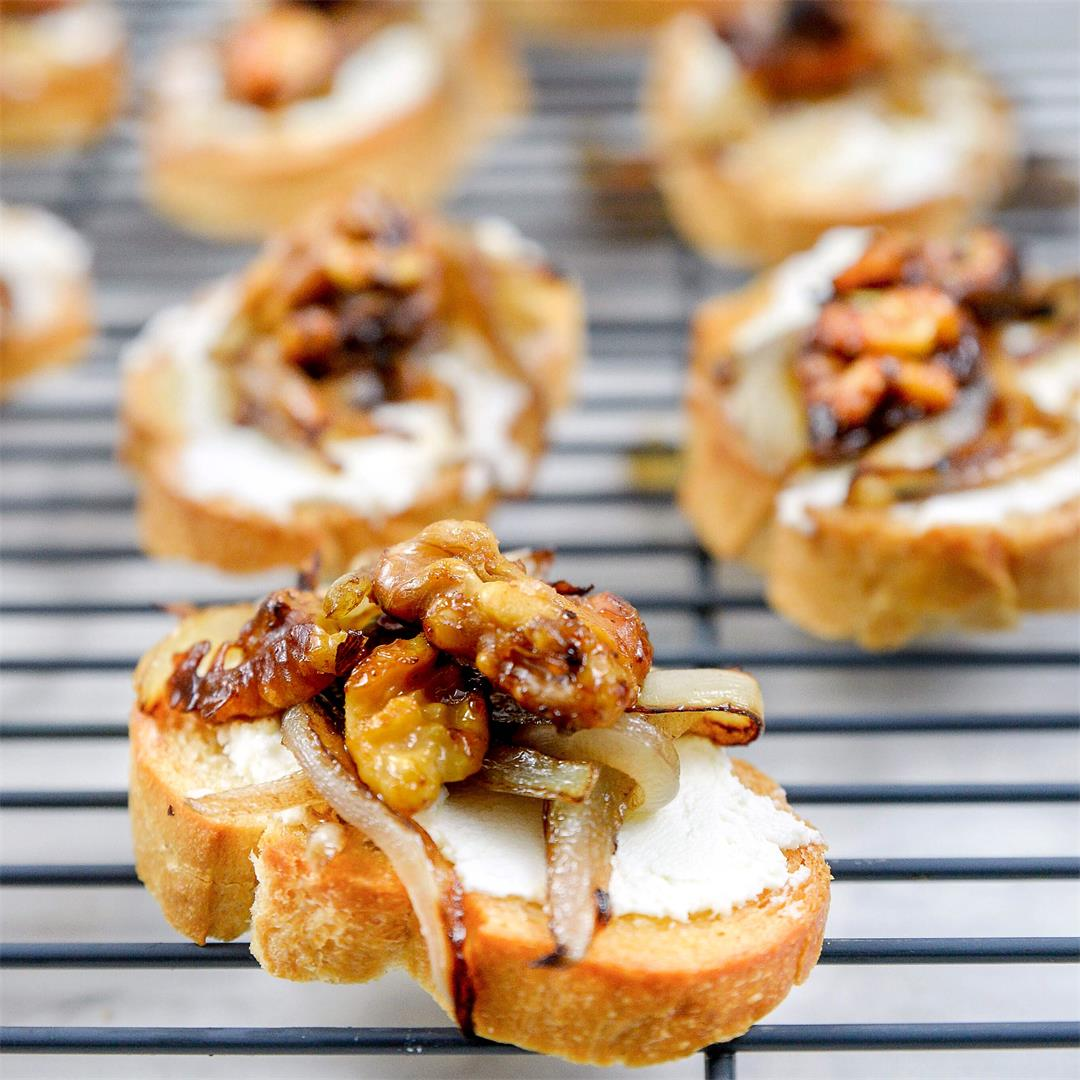 Goat Cheese Crostini with Candied Walnuts and Caramelized Onion