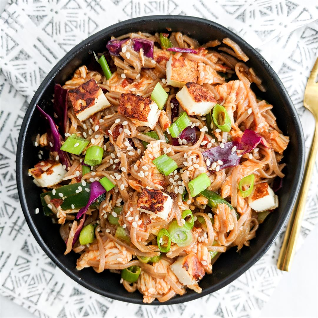 Chipotle Chicken Soba Noodles with Fried Halloumi