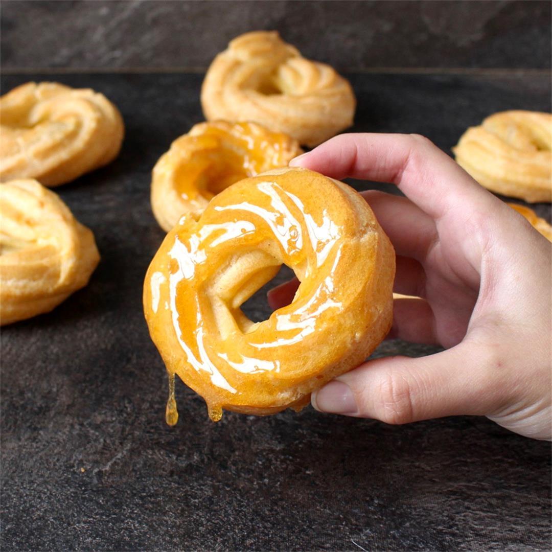 Honey Lemon Glazed French Cruller Donuts