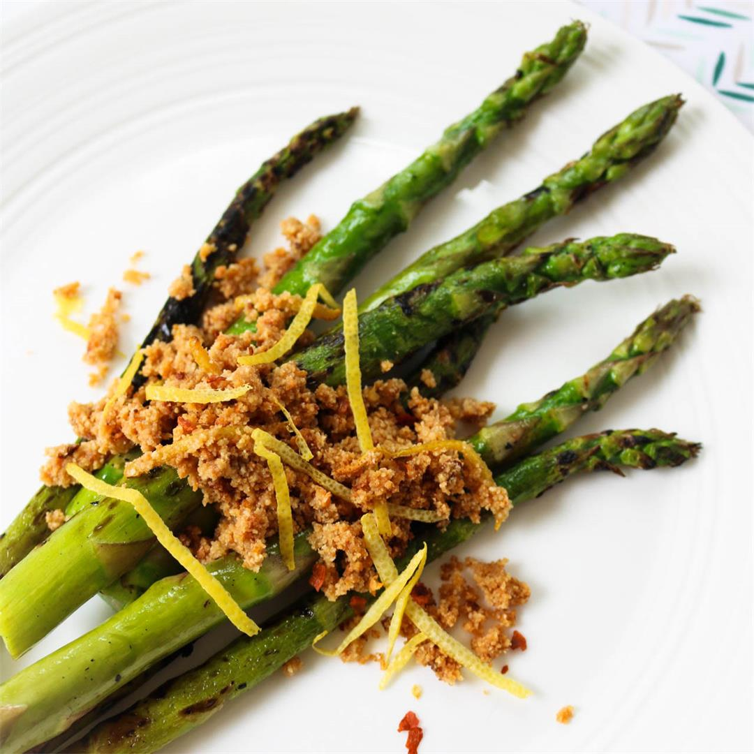 Asparagus with Lemon Chili Paleo Breadcrumbs