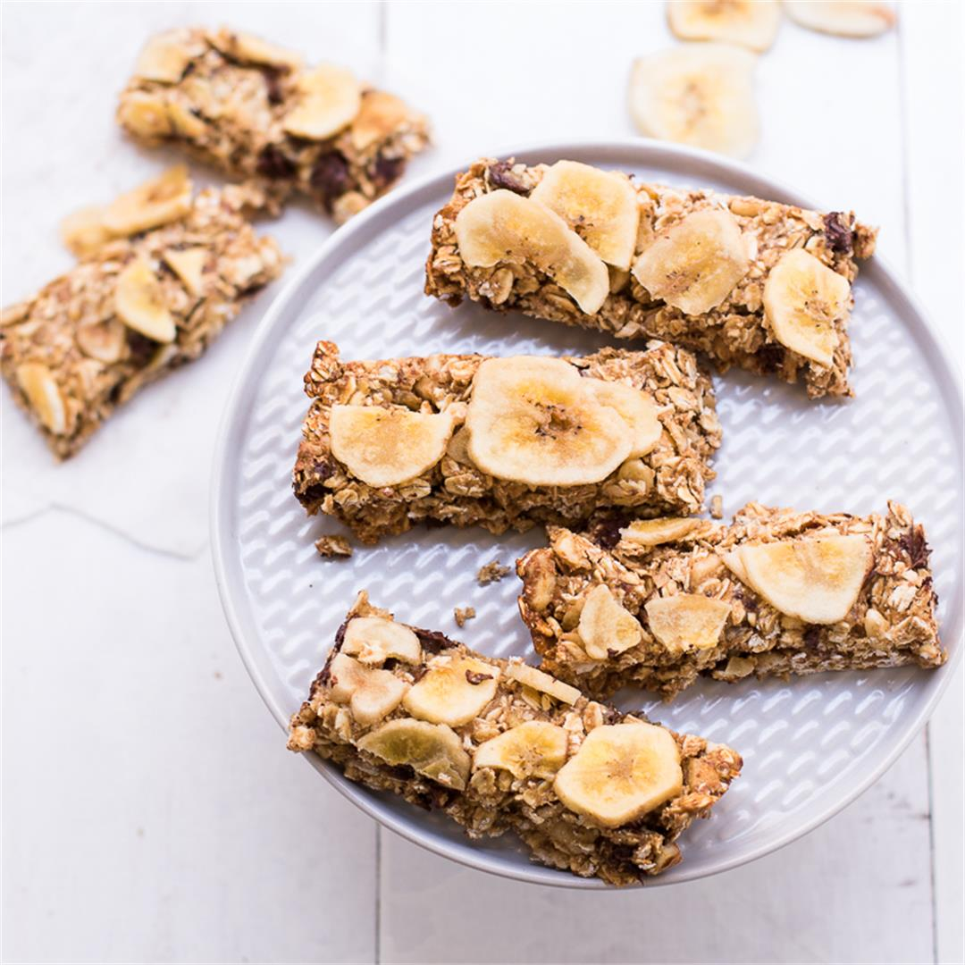 Peanut Butter Banana Chip Vegan Granola Bars