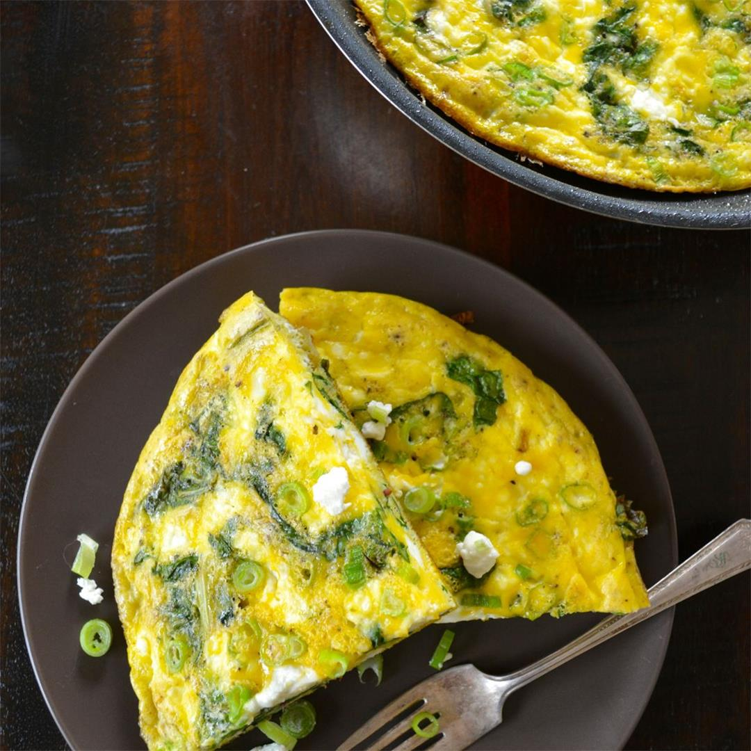 Swiss Chard & Goat Cheese Frittata - quick and healthy!