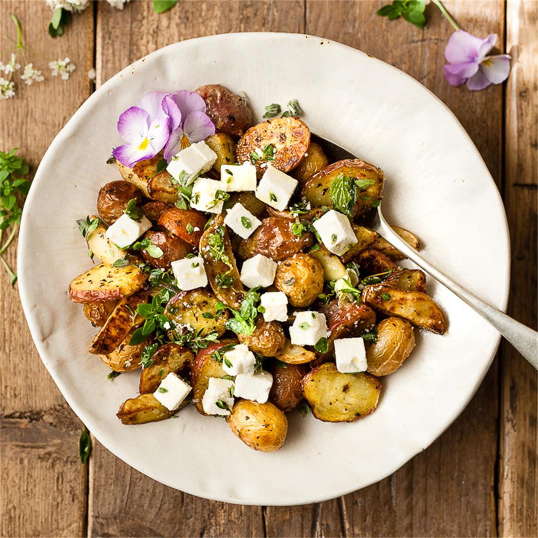 Greek Roast Potatoes With Lemon And Feta