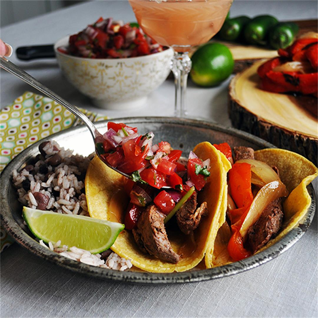 Grilled Flank Steak Tacos with Pico de Gallo