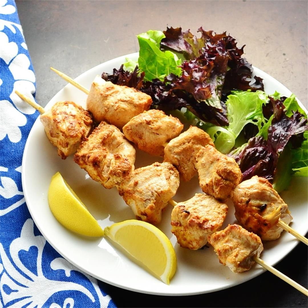 Moroccan Spiced Yogurt Chicken Kebabs
