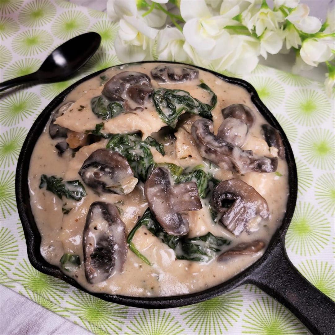 Instant Pot Creamy Parmesan Garlic Mushroom Chicken