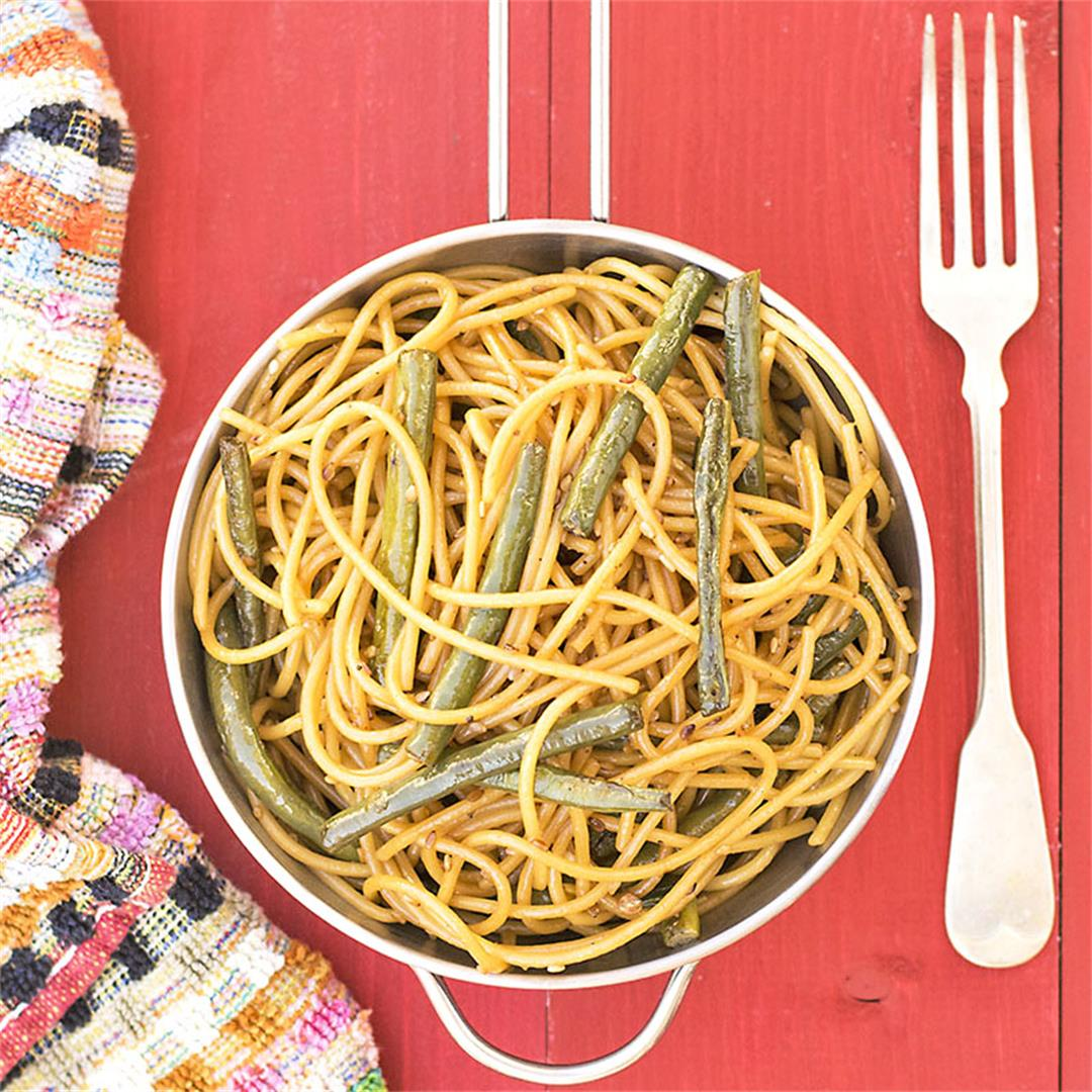 Mediterrasian spaghetti or noodles with Chinese long beans