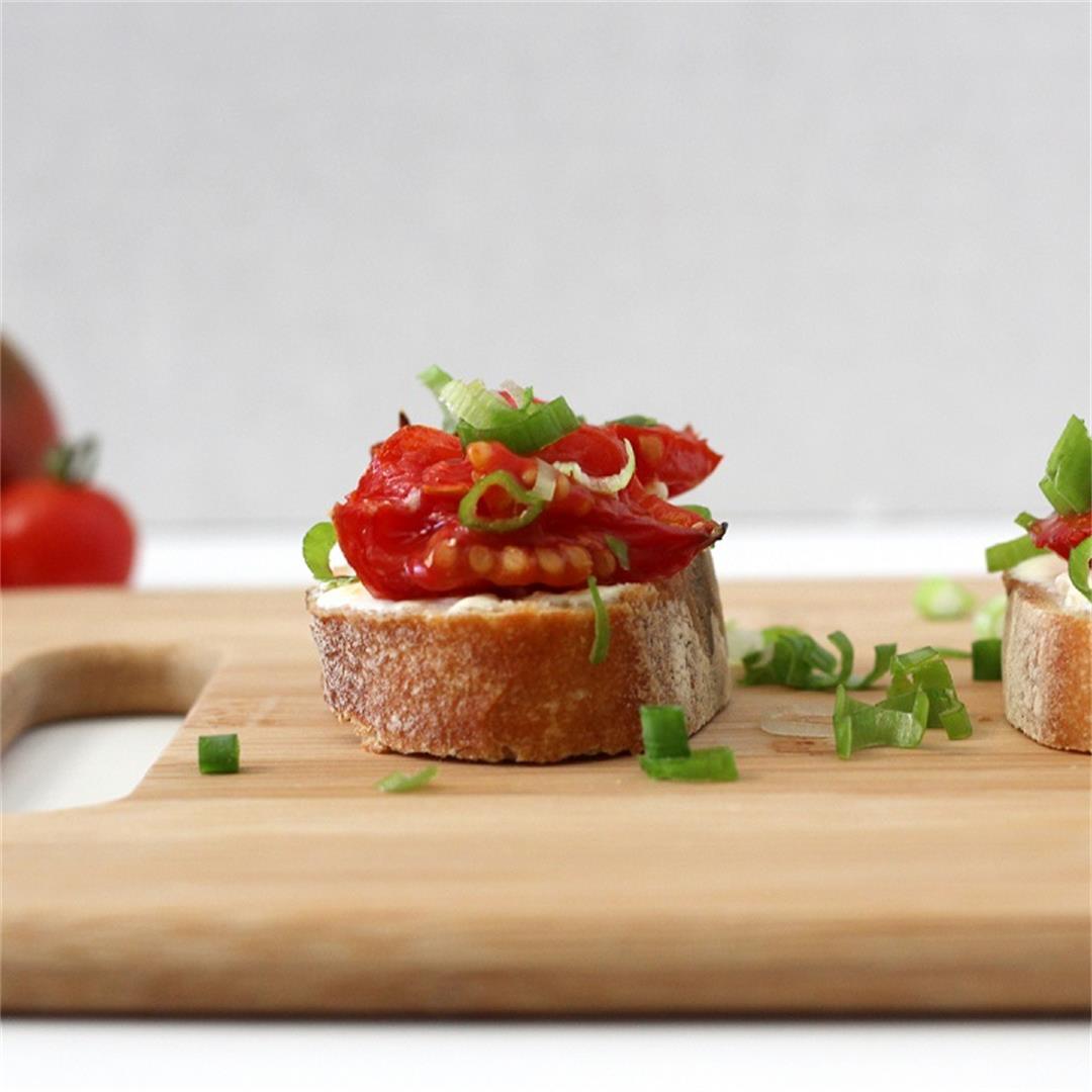 Roasted Tomato Crostini with Feta Dijon Spread