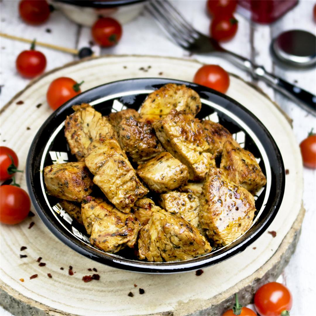 Juicy and spicy Spanish pork tenderloin tapas with pimentón