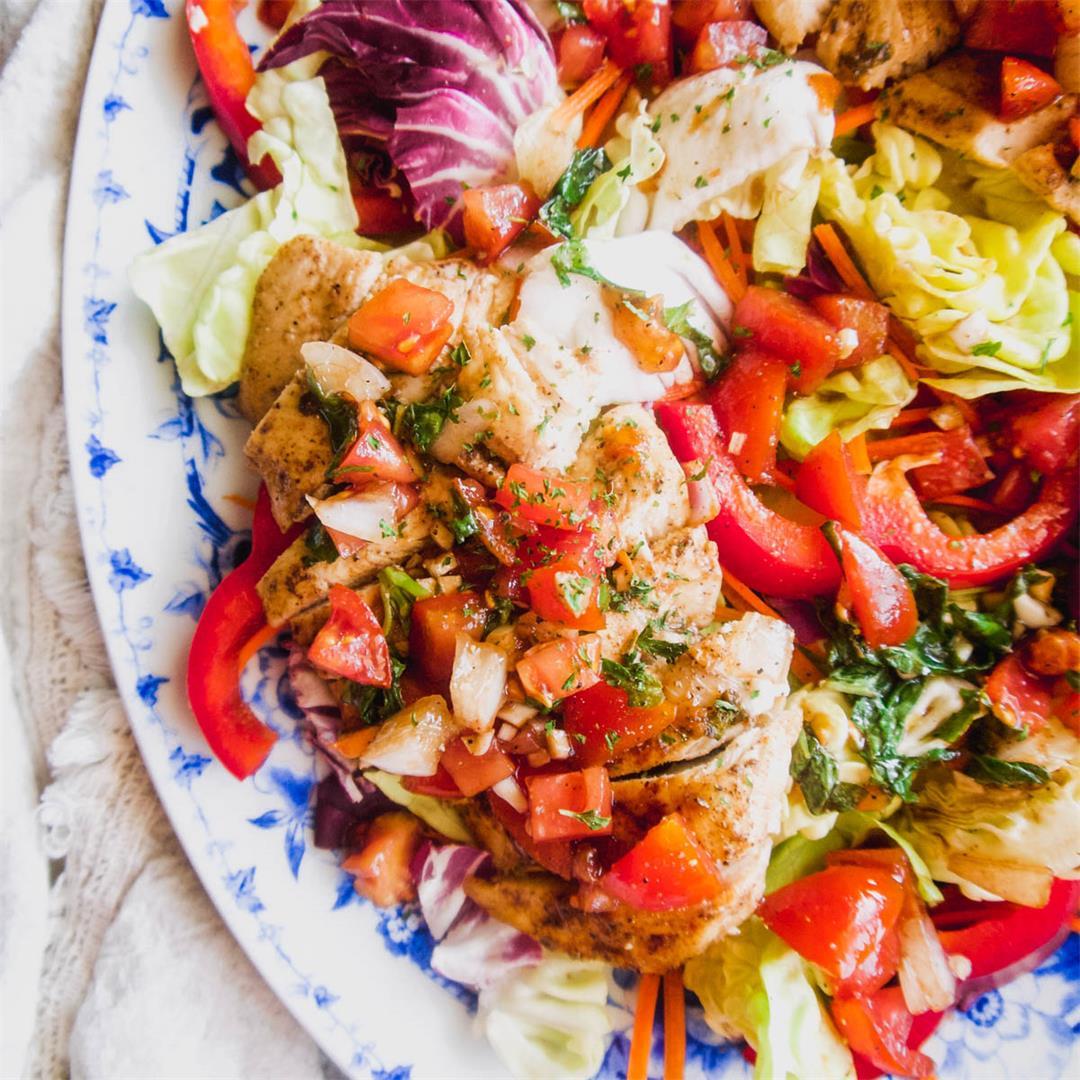Bruschetta Grilled Chicken Salad (Paleo, Whole30)