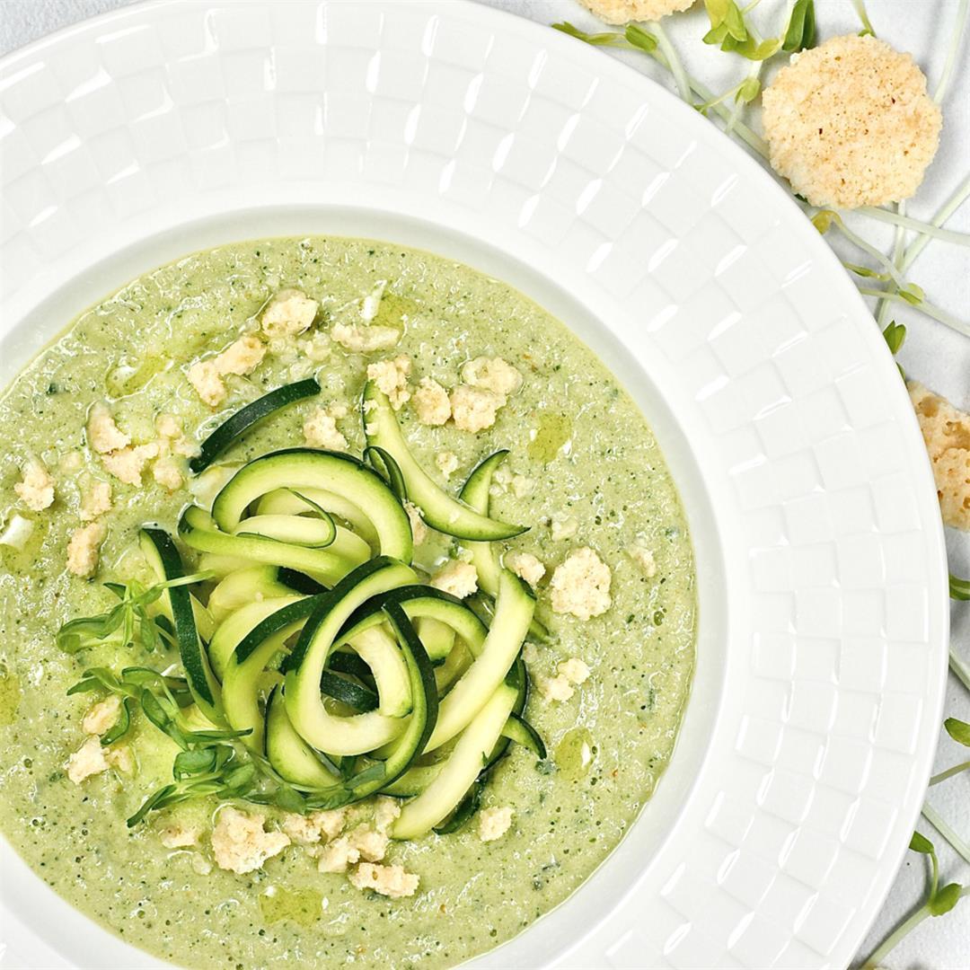 Zucchini Noodle Gazpacho Cold Blender Soup
