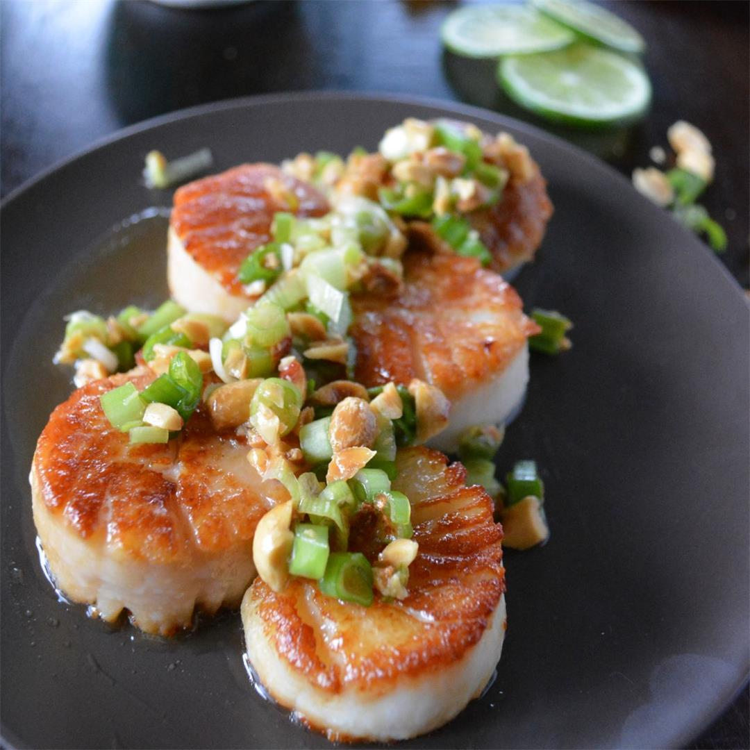 Vietnamese Style Scallops with Citrus, Peanuts, & Green Onion
