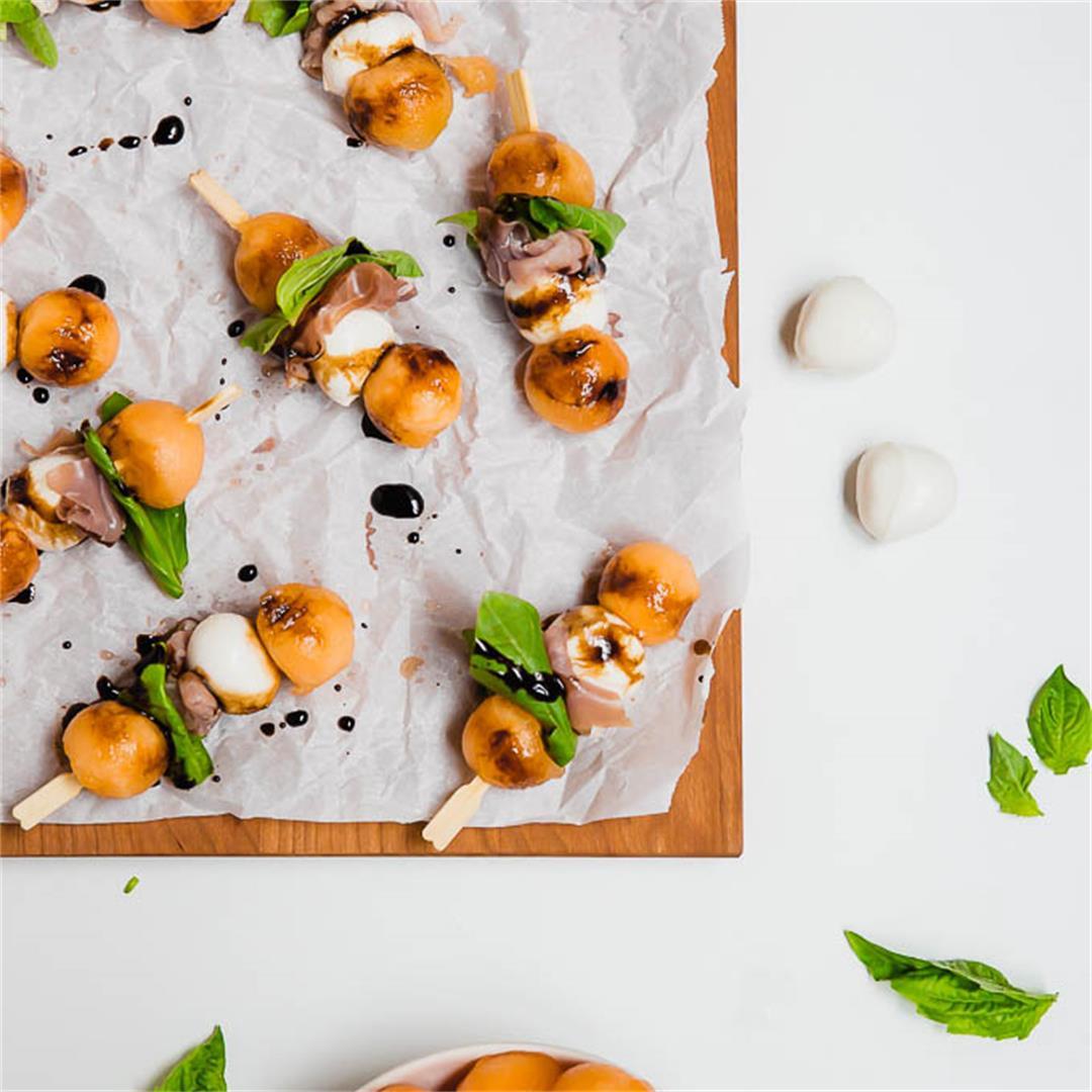 Prosciutto Melon Mozzarella Skewers