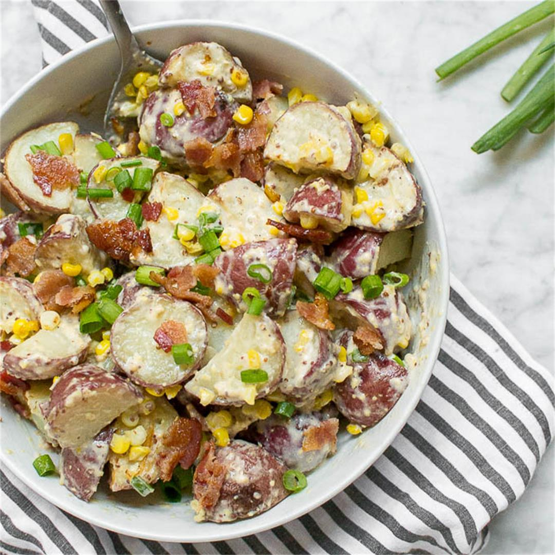 Roasted Corn and Bacon Red Potato Salad