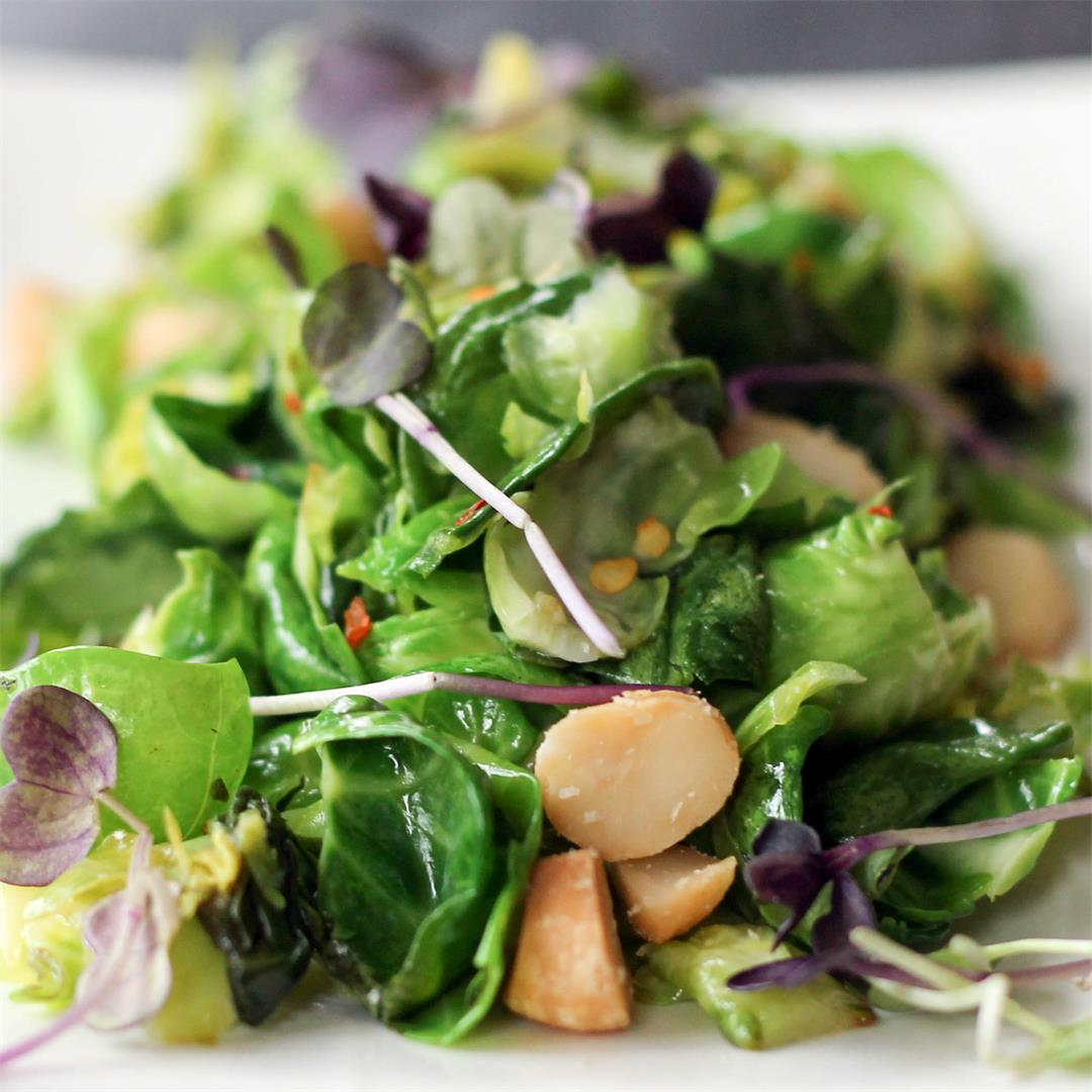 Brussels Sprout Leaf and Spinach Salad