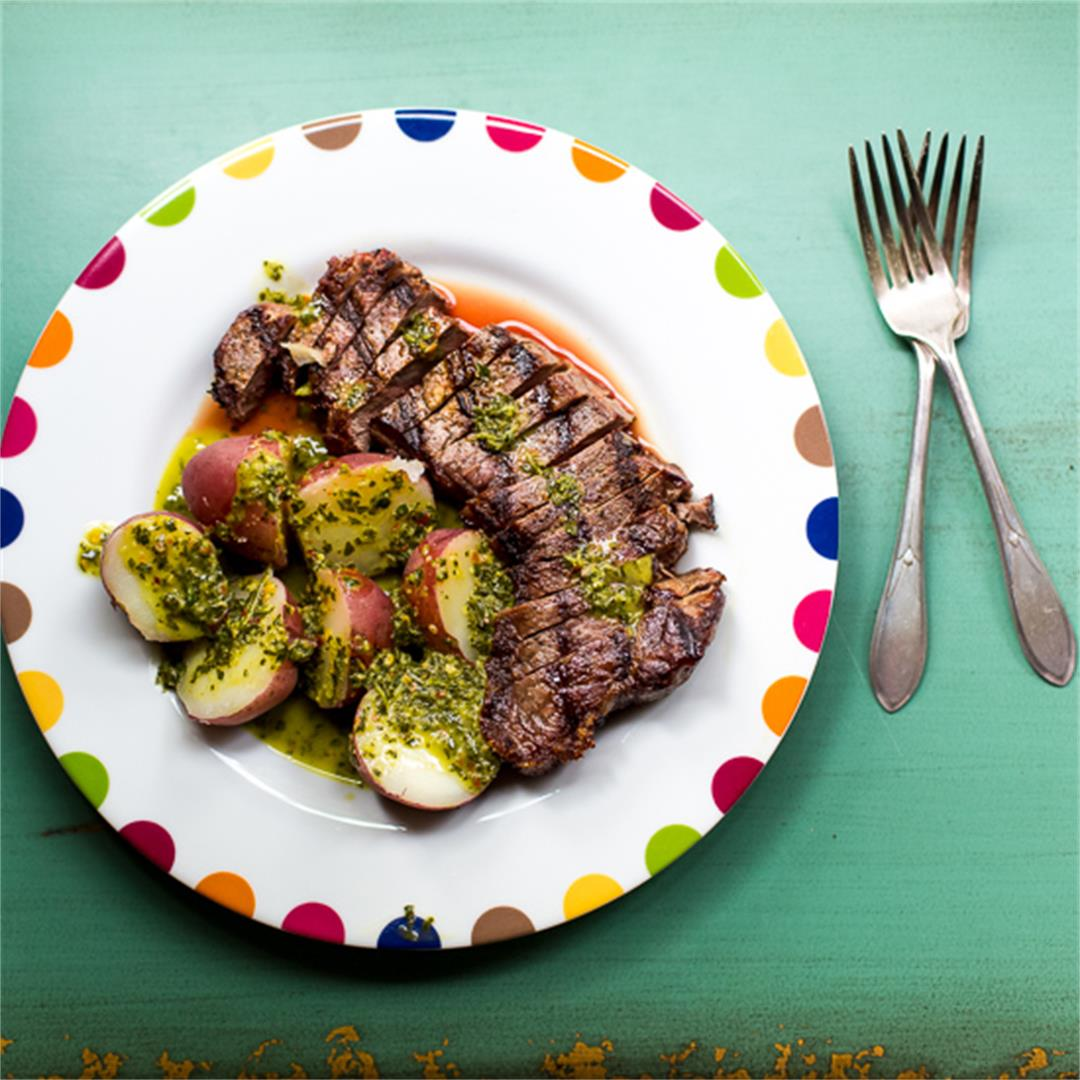 Grilled Flank Steak with New Potatoes and Chimichurri Sauce