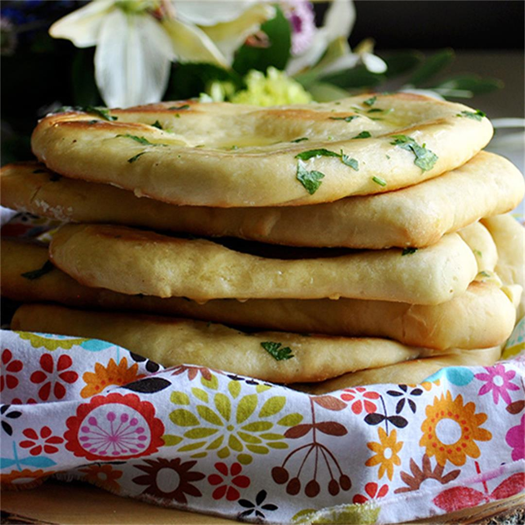 Homemade Garlic Naan Bread with Parsley Butter