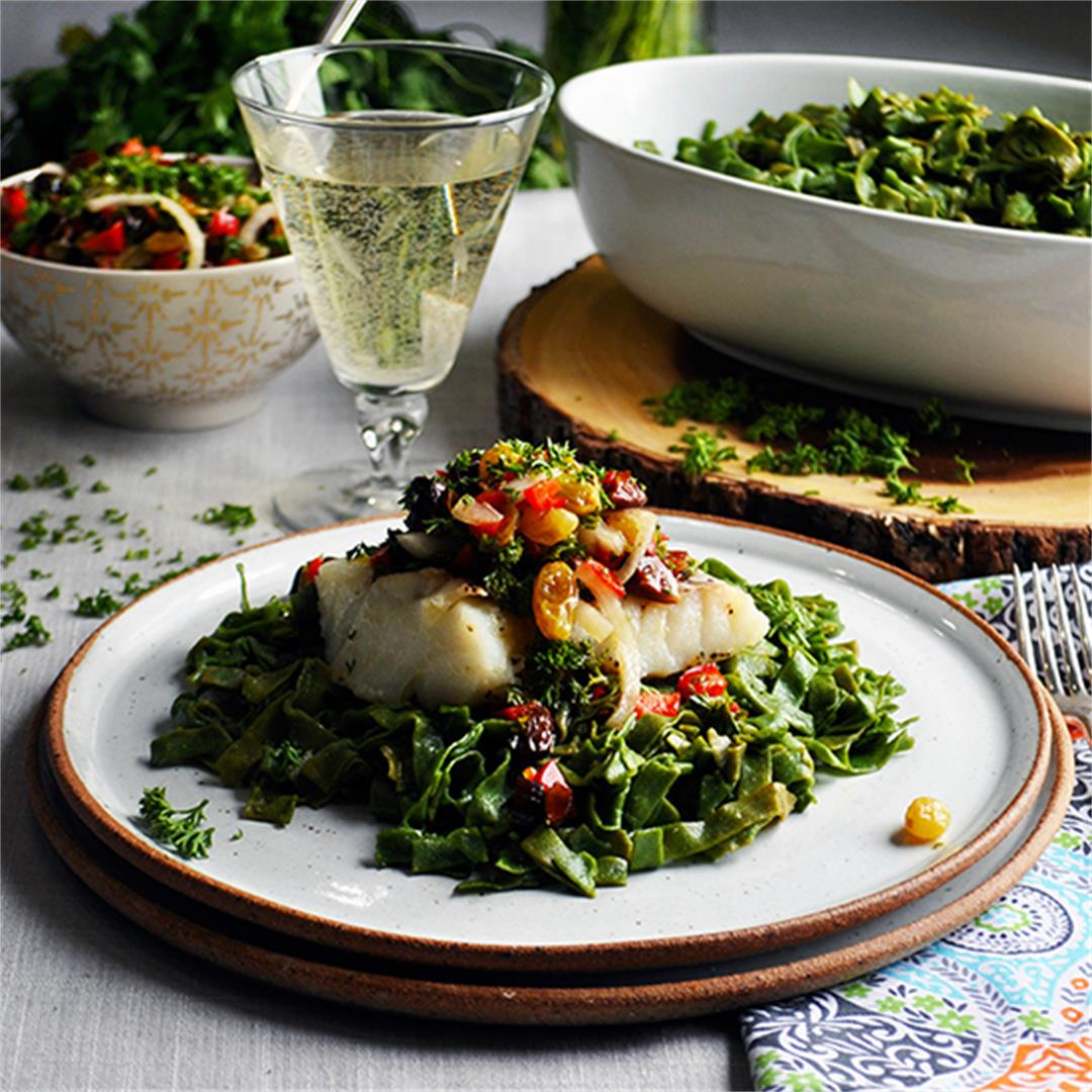 Spinach Pasta with Simple Baked Cod and Agrodolce