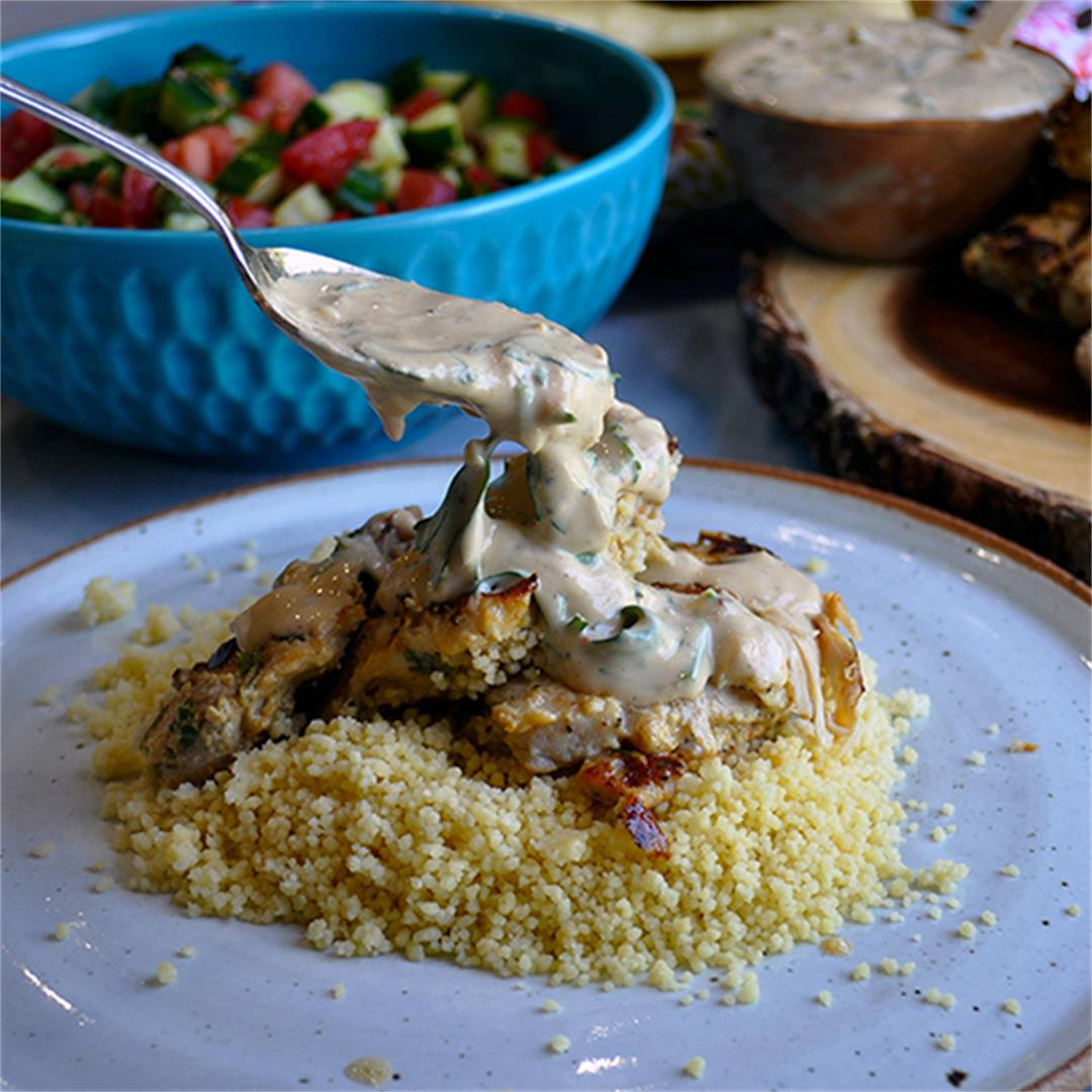 Tahini Marinated Grilled Chicken with Couscous