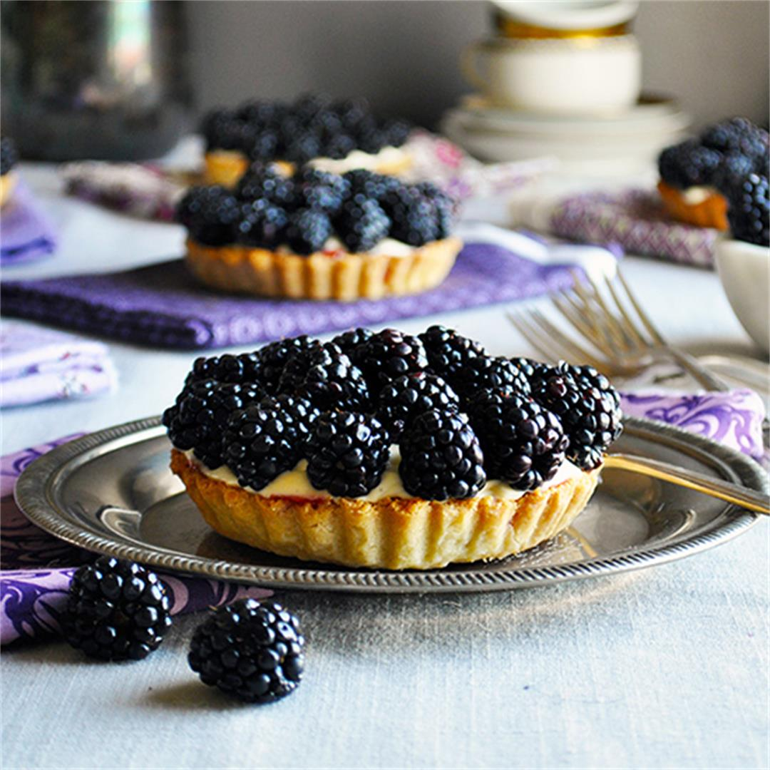 Blackberry Amaretto Custard Tarts