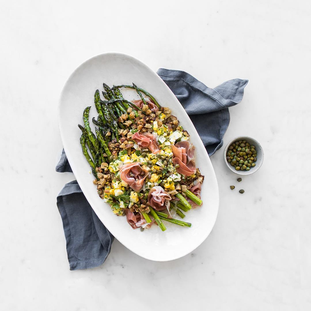 Polonaise Asparagus Salad with Prosciutto