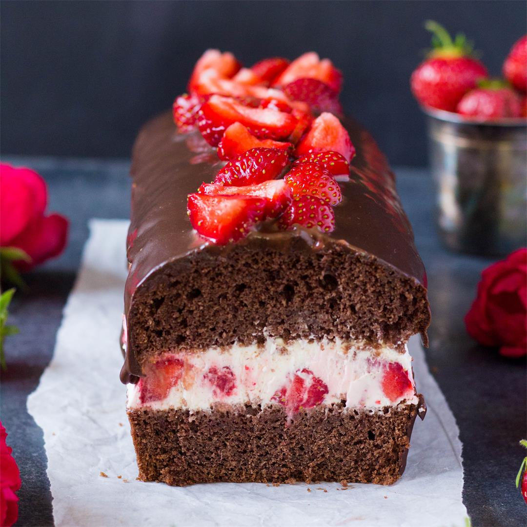Chocolate Loaf Cake with Strawberry Cream Cheese Filling