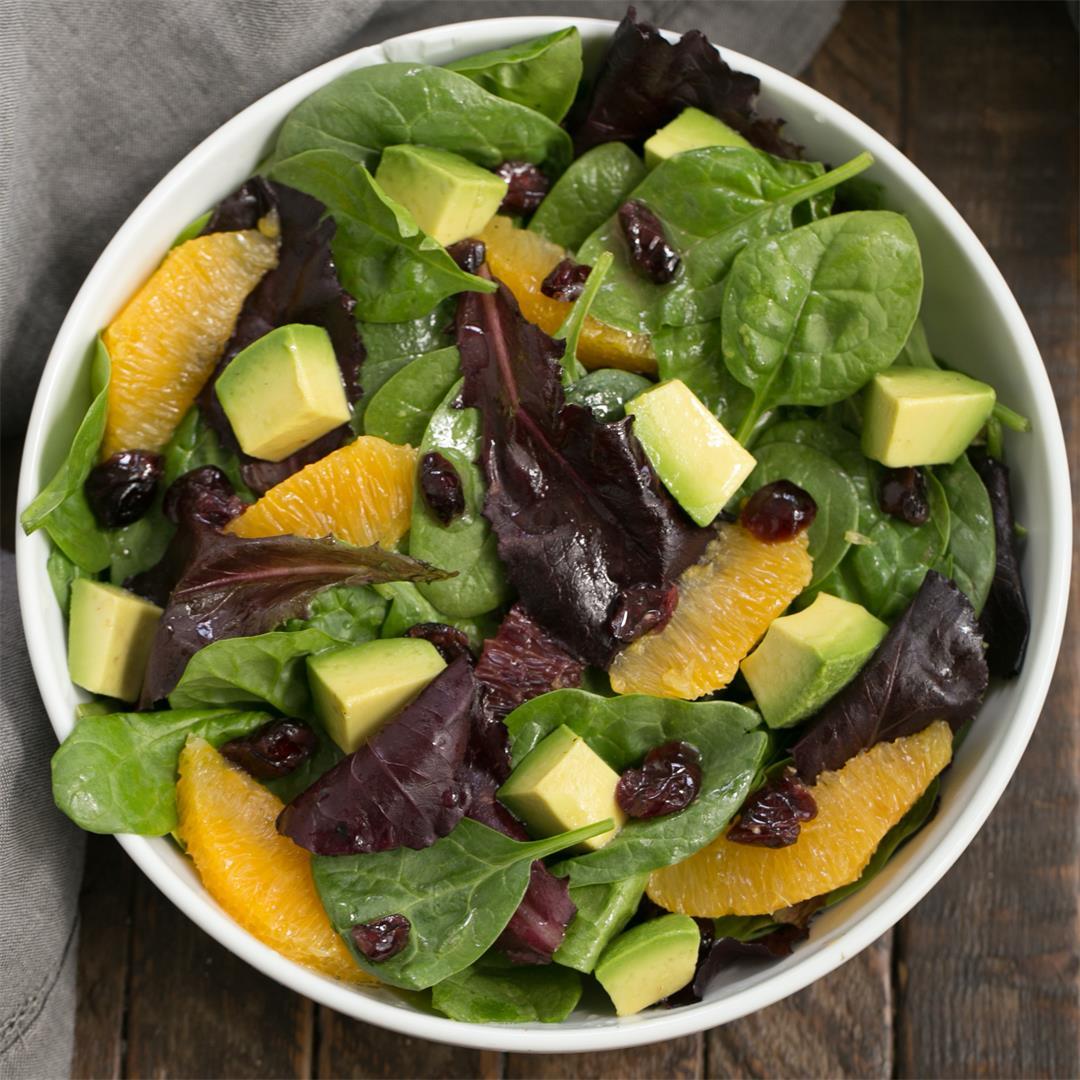 Citrus Spinach Salad with Supremed Oranges, Avocados & Craisins
