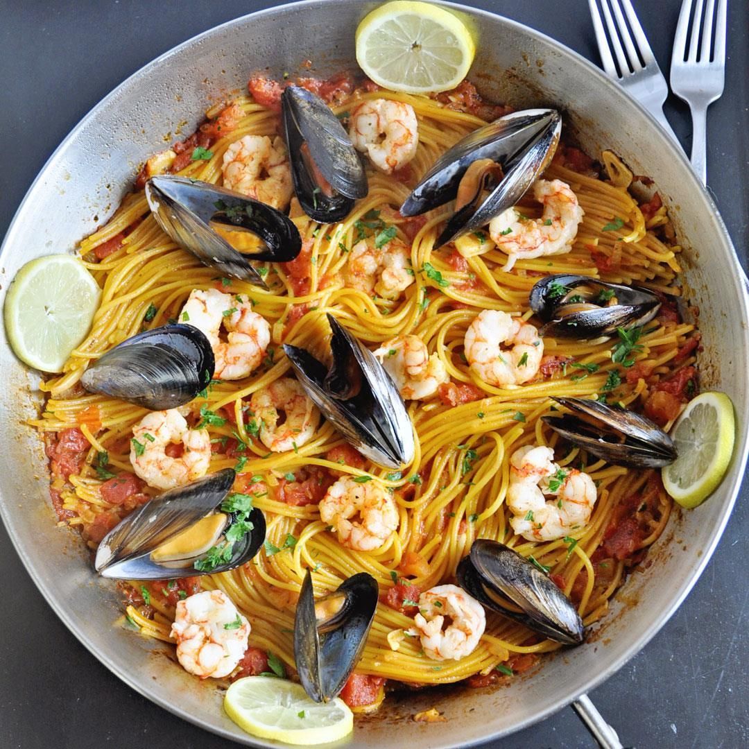 One-Pot Saffron Spaghetti with Shrimp & Mussels