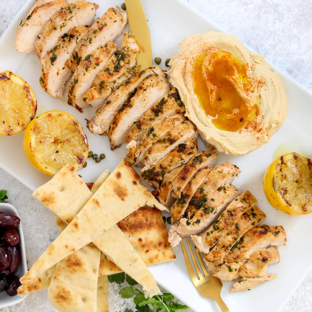 Mediterranean Grilled Chicken Platter with Olives and Eggplant