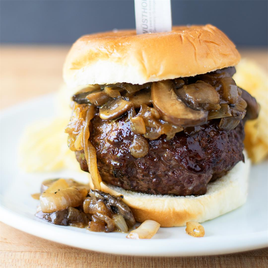 Bleu Cheese Stuffed Burgers w/ Caramelized Onions and Mushrooms