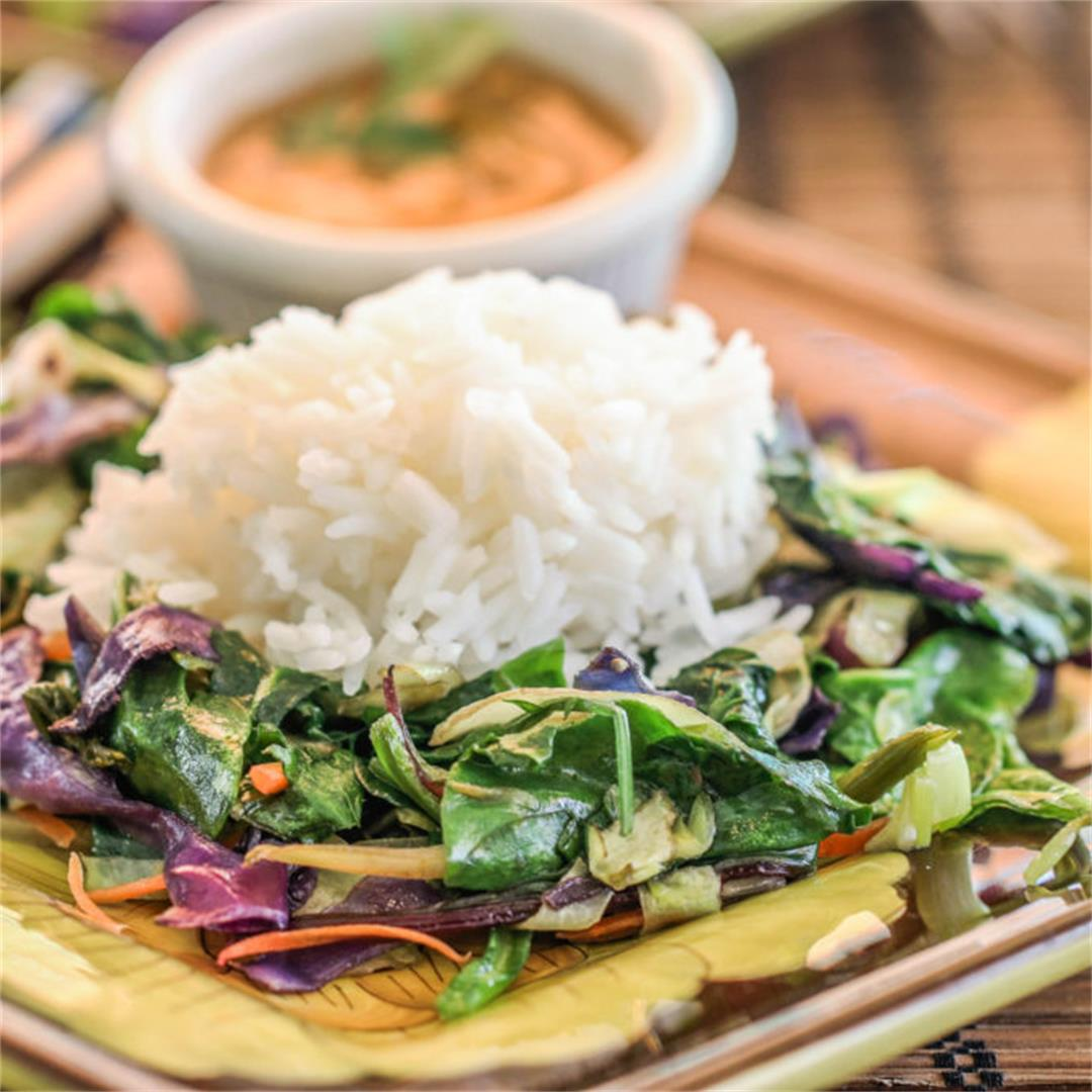 Power Green Stirfry With Hot Peanut Dressing