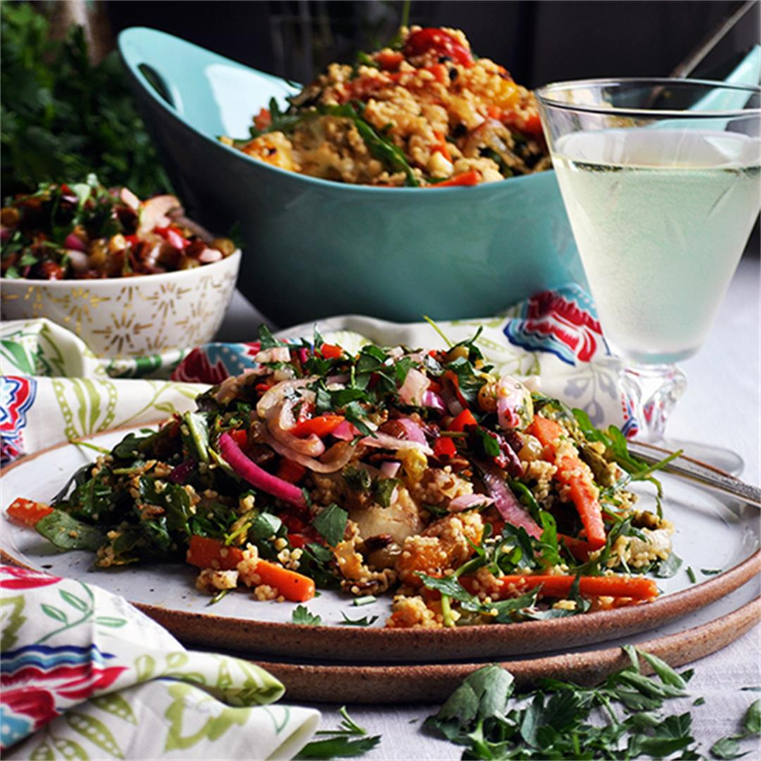 Couscous Salad with Spring Vegetables and Agrodolce