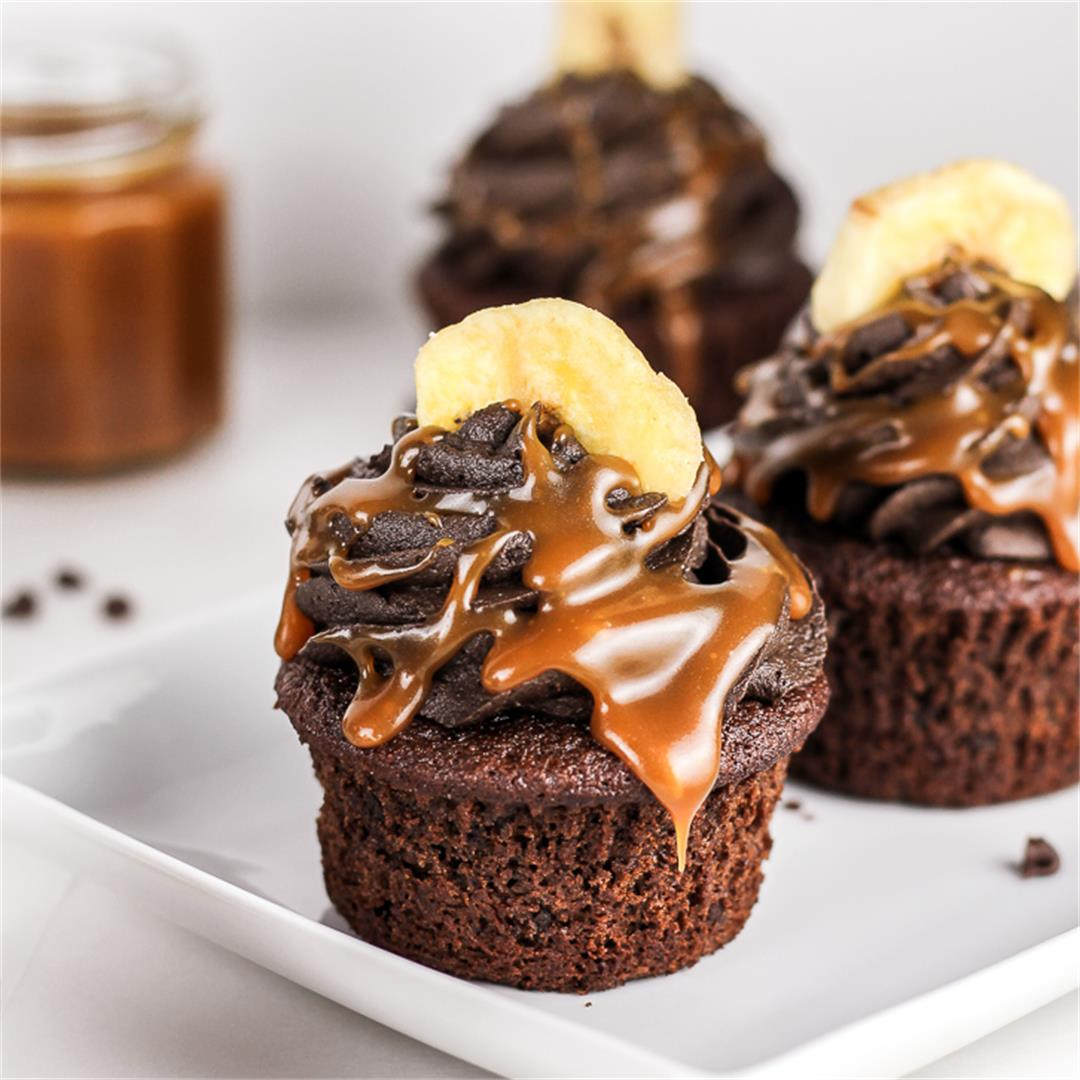 Triple Chocolate Banana Cupcakes with Homemade Caramel Sauce