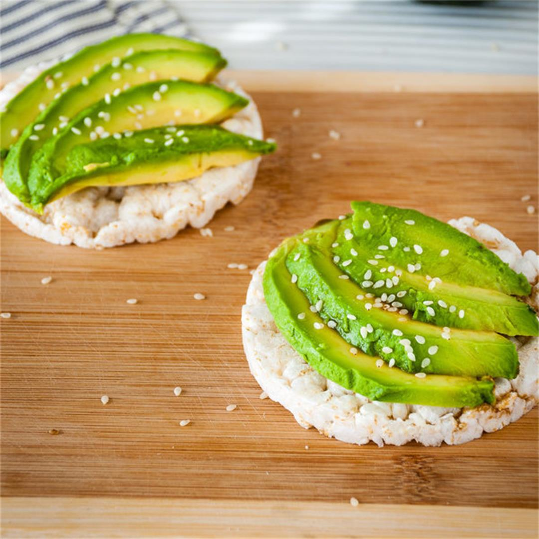Super Easy Avocado Rice Cake Snack