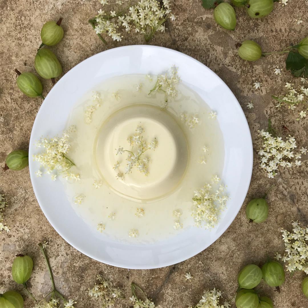 Elderflower Pannacotta with Gooseberry Syrup