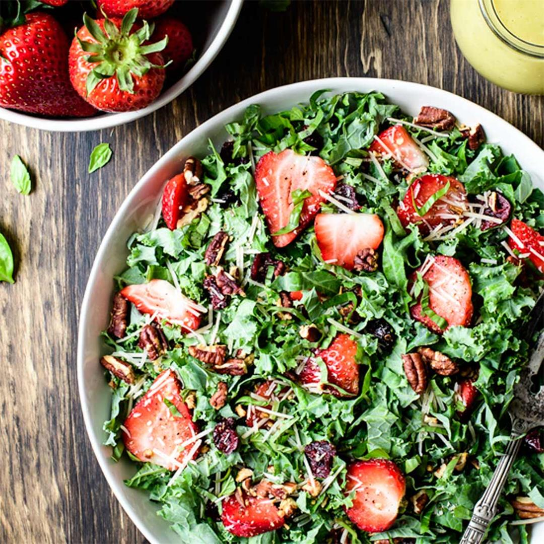 Kale Strawberry Salad with Lemon Basil Vinaigrette