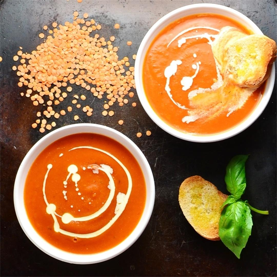 Tomato Soup with Lentils and Sweet Potato