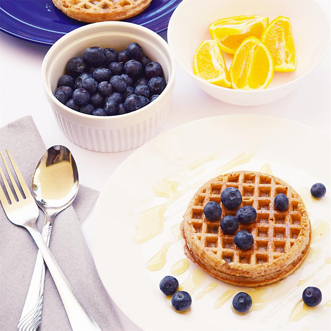 Crunchy Blueberry Waffles